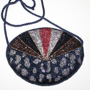 Beautiful vintage beaded navy silver purse